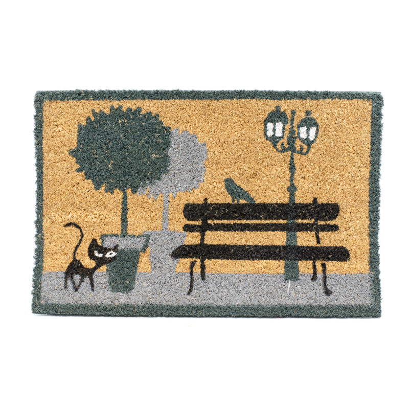 Kókuszrost lábtörlő parkban sátáló cicával