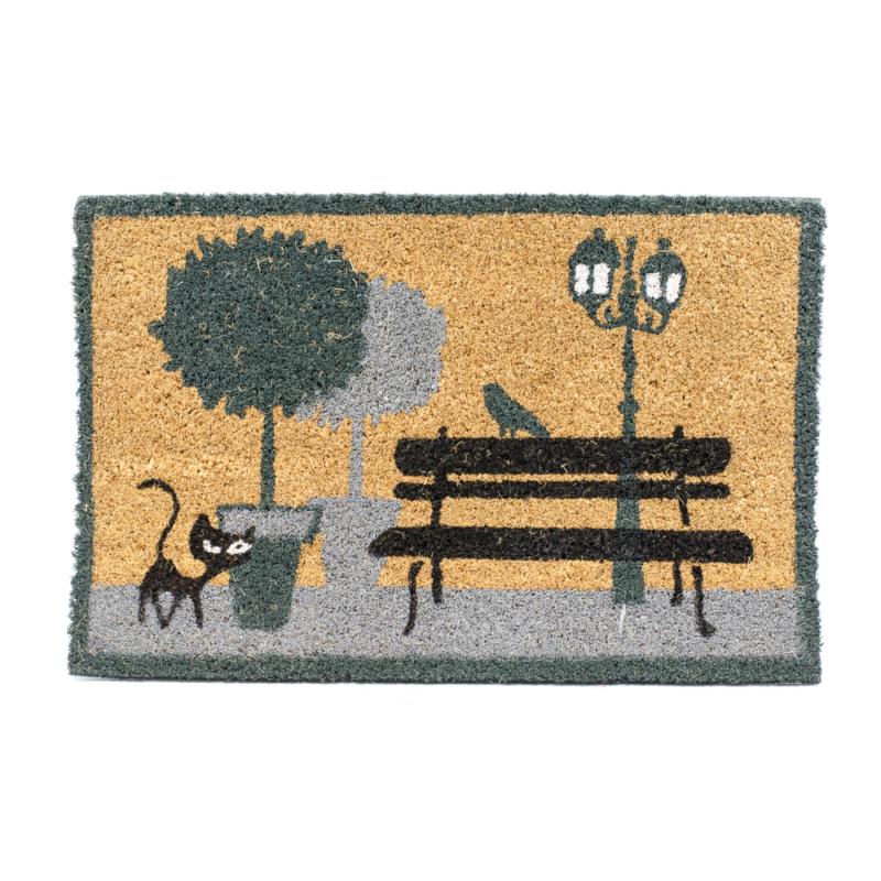 Kókuszrost lábtörlő parkban sétáló cicával