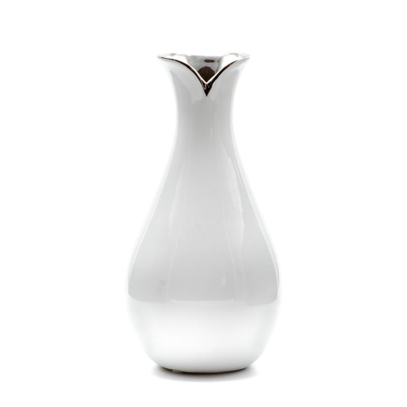 Vékony nyakú ezüst szájú közepes méretű fehér kerámia váza
