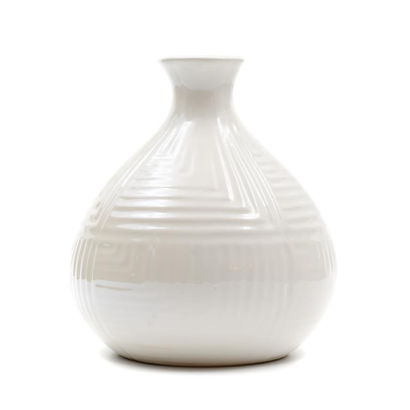 Kisméretű bézs gyöngyházfényű gömbölyű váza szűk szájjal