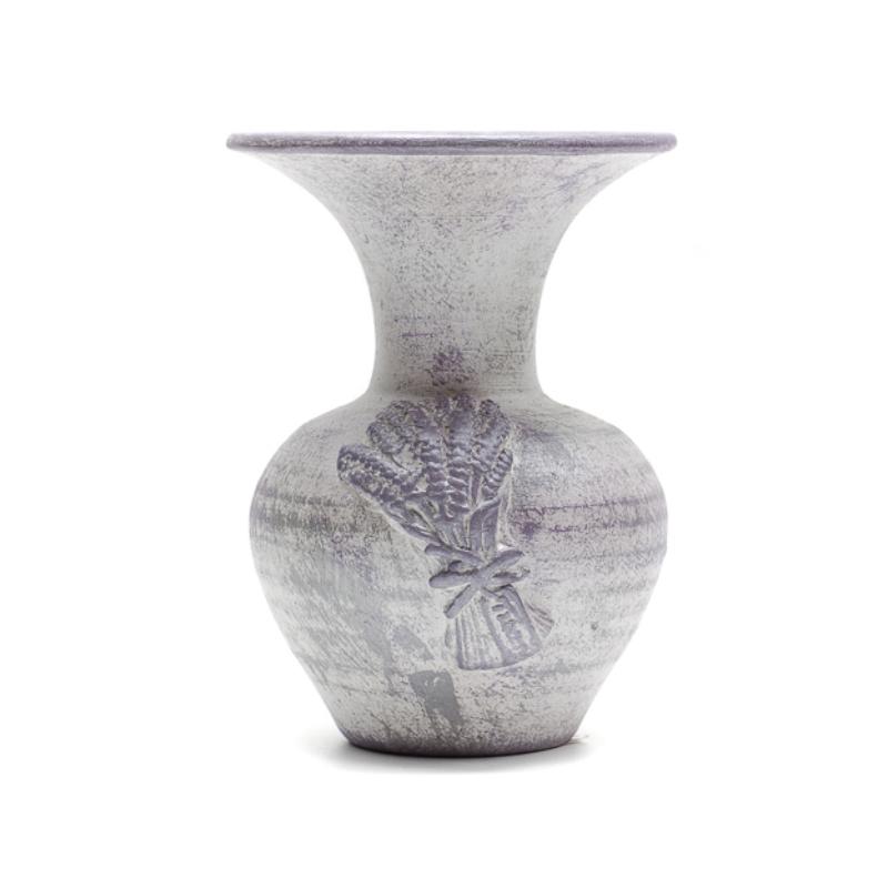 Kicsi levendulás váza, lila és fehér antikot felülettel 1-2 szál virágnak