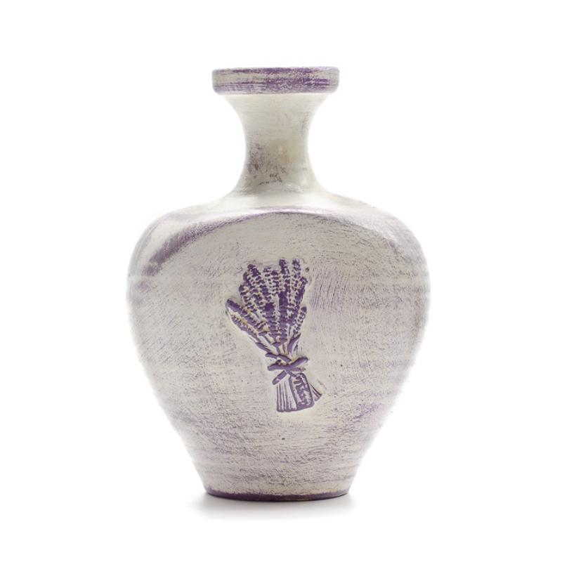 Közepes méretű, görög stílusú váza, felülete fehér-lila antikolt
