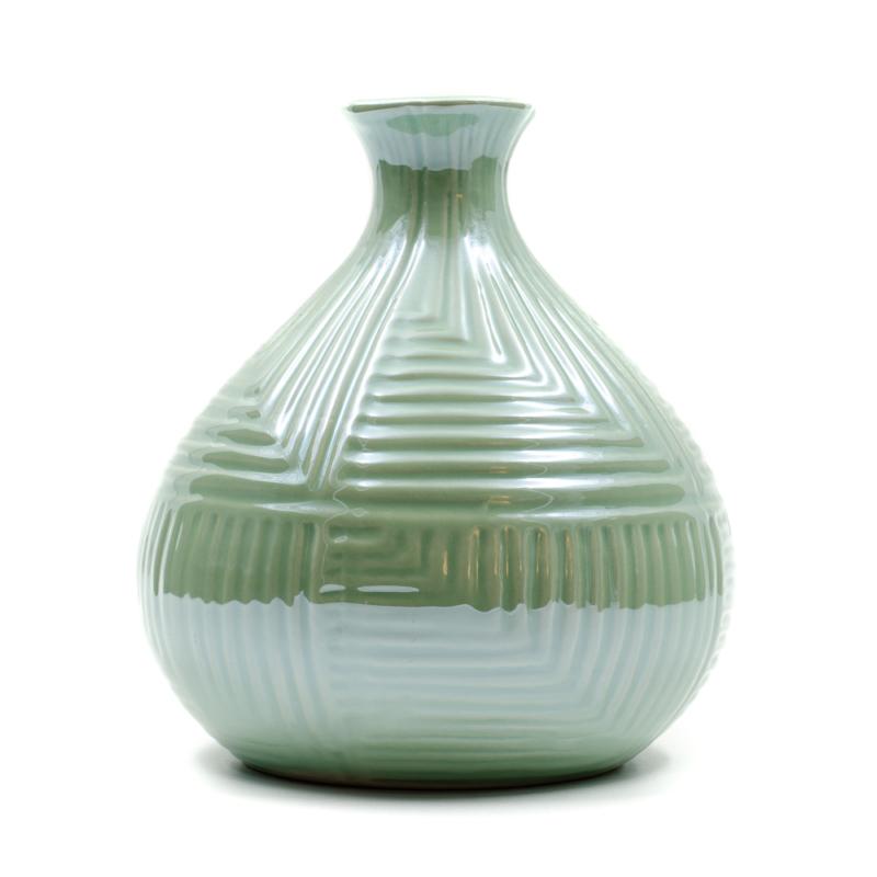 Kisméretű zöld gyöngyházfényű gömbölyű váza szűk szájjal