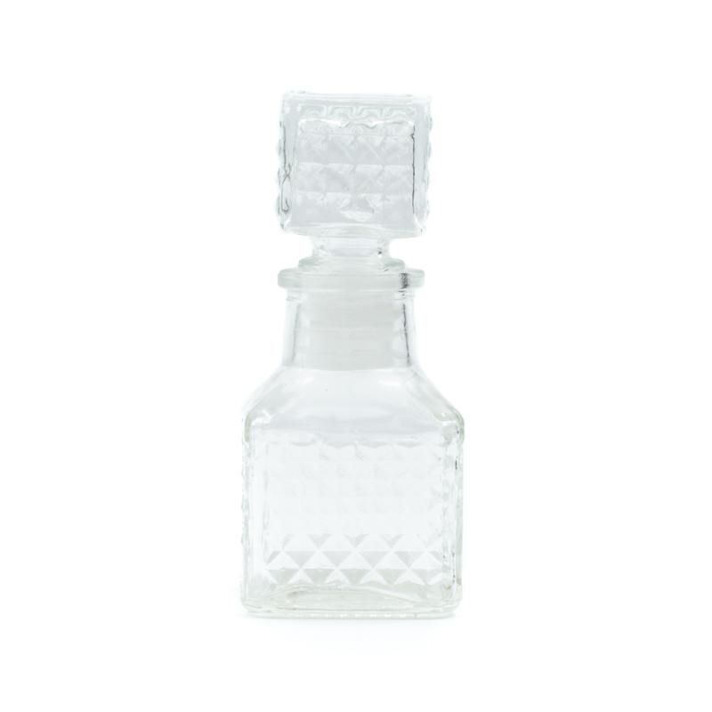 Üveg négyzet alakú parfümös üvegcse, négyzet alakú üveg dugóval