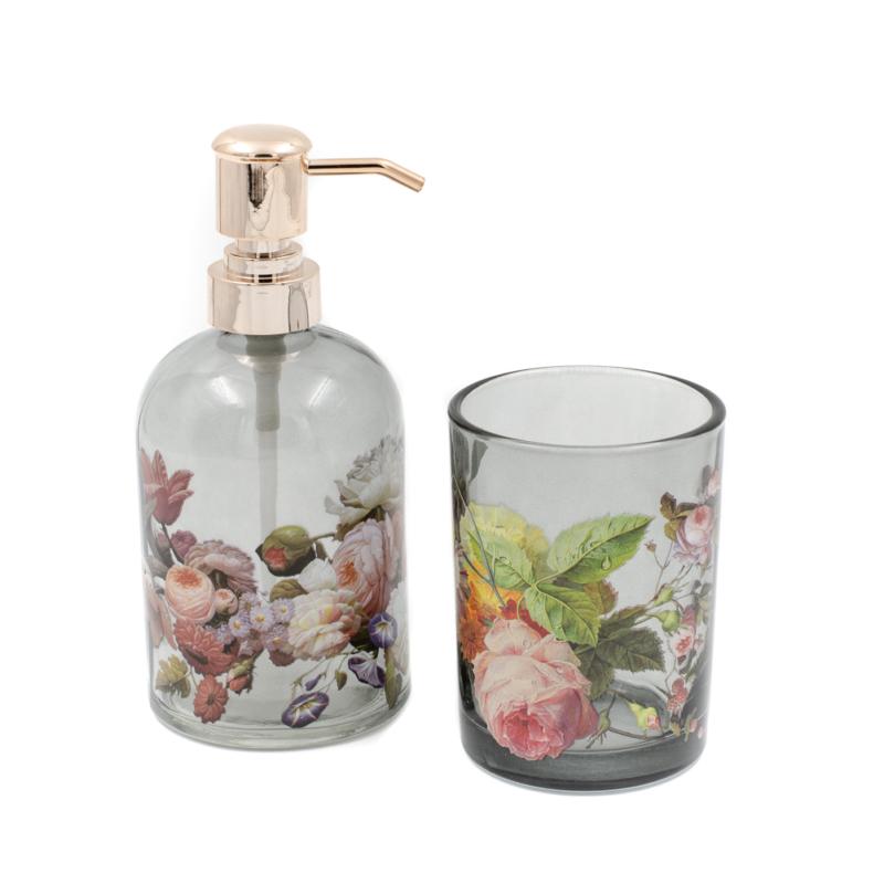 2 db-os üveg fürdőszoba szett füstös átlátszó üvegből, fehér-rózsaszín rózsákkal