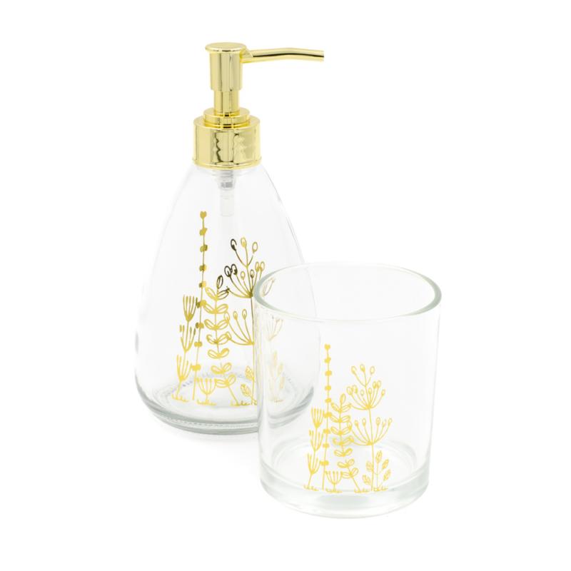 2 db-os üveg fürdőszoba szett arany levelekkel