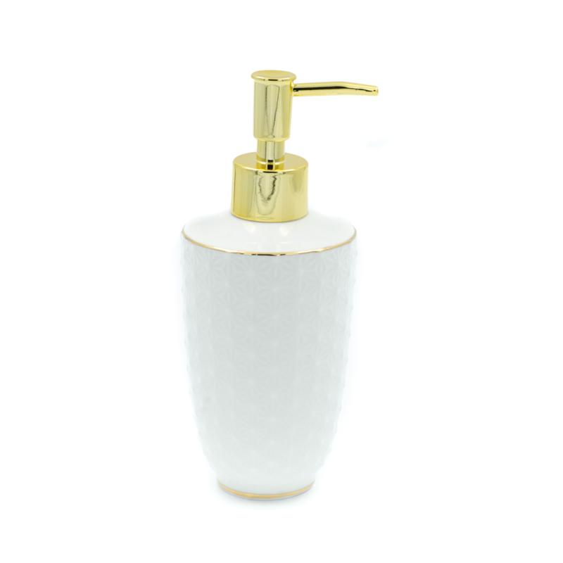 Fehér dombornyomott kerámia szappanadagoló, arany csíkozással és arany nyomófejjel