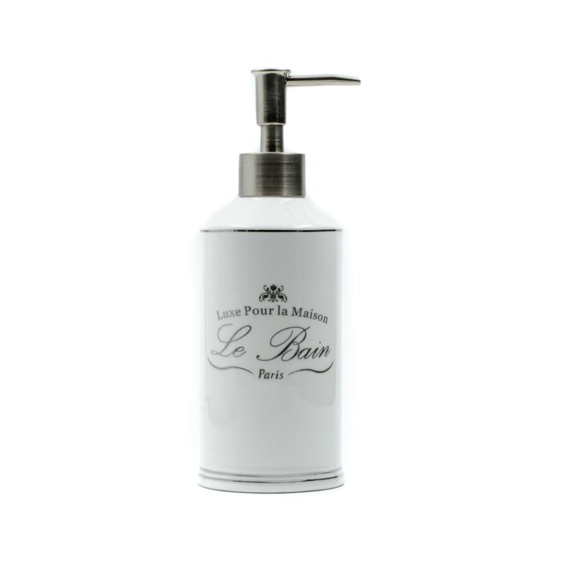Fehér kerámia szappanadagoló ezüst Le bain felirattal