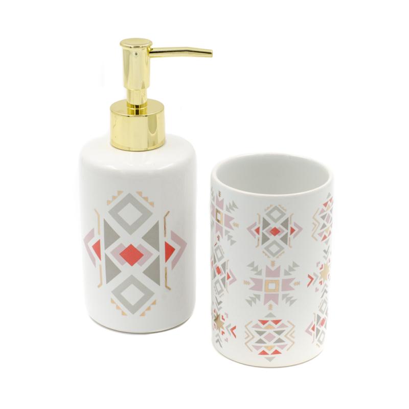 2 db-os fehér kerámia fürdőszoba szett nonfiguratív mintákkal