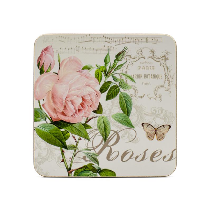 6 db-os parafa poháralátét szett díszdobozban, 6 különbözővintage rózsakompozícióval
