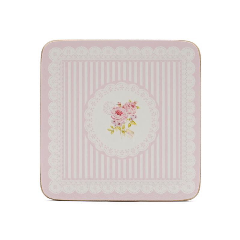 6 db-os rózsaszín csíkos parafa poháralátét szett