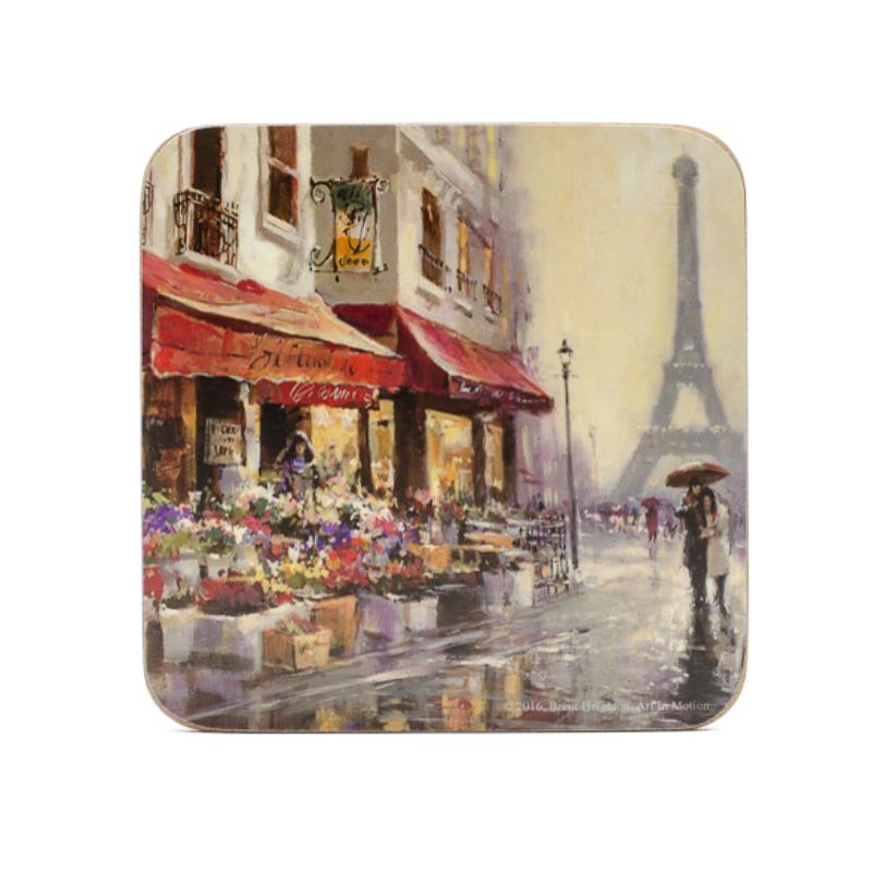 Poháralátét párizsi esős életképpel az Eiffel-torony lábánál, virábolttal, szerelmes párral esernyő alatt