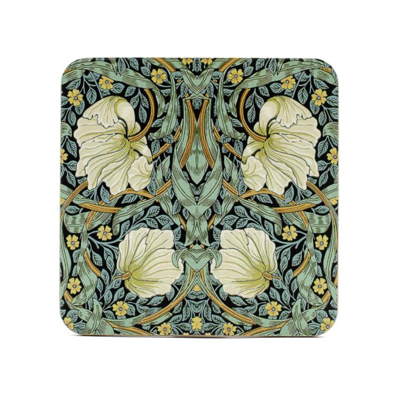 4 db-os Pimpernel fehér virággal mintázatú poháralátét parafából