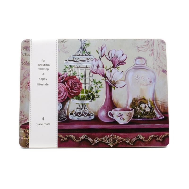 4 db-os lila tányéralászett magnóliával, rózsákkal