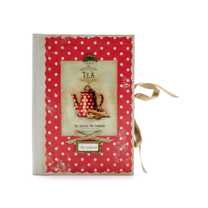 Piros alapon fehér pöttyös receptes füzet piros-fehér pöttyös teáskannával, Receptjeim felirattal