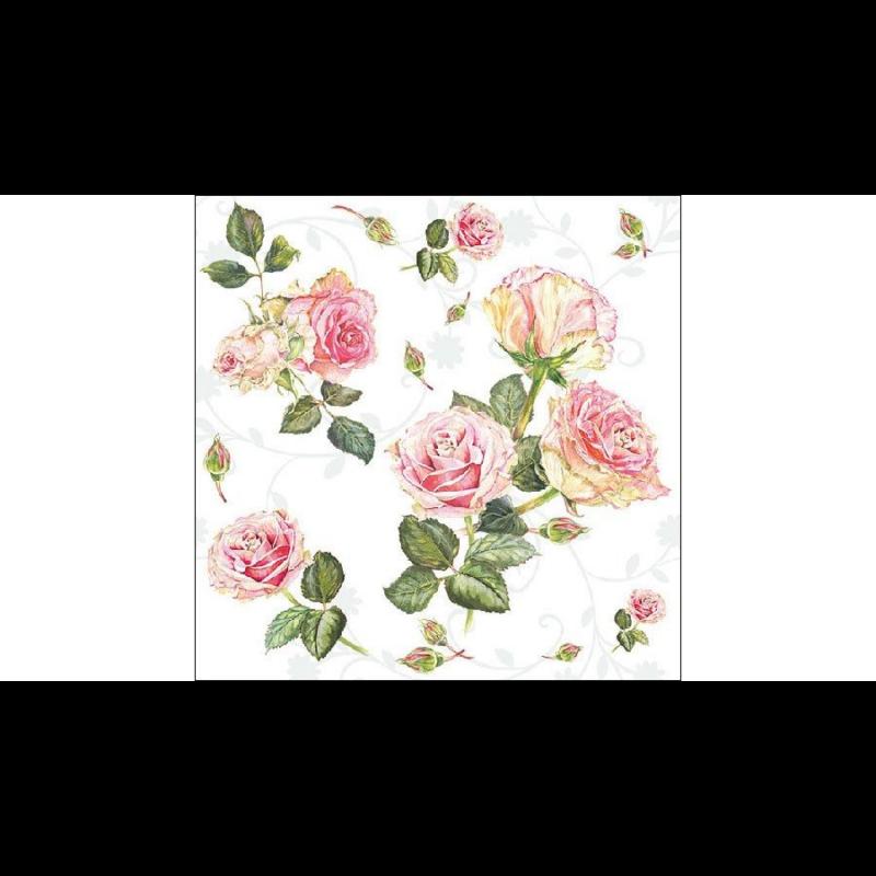 Élethű rózsafejekkel, bimbókkal dekorált szalvéta