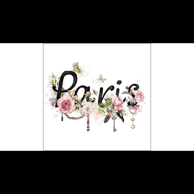 Szalvéta Párizs felirattal, rózsaszín rózsákkal