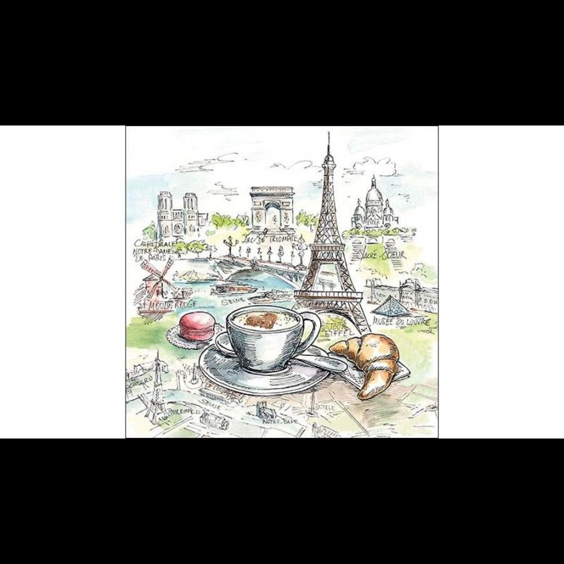 Francia reggeli Párizs nevezetességei között papírszalvétán