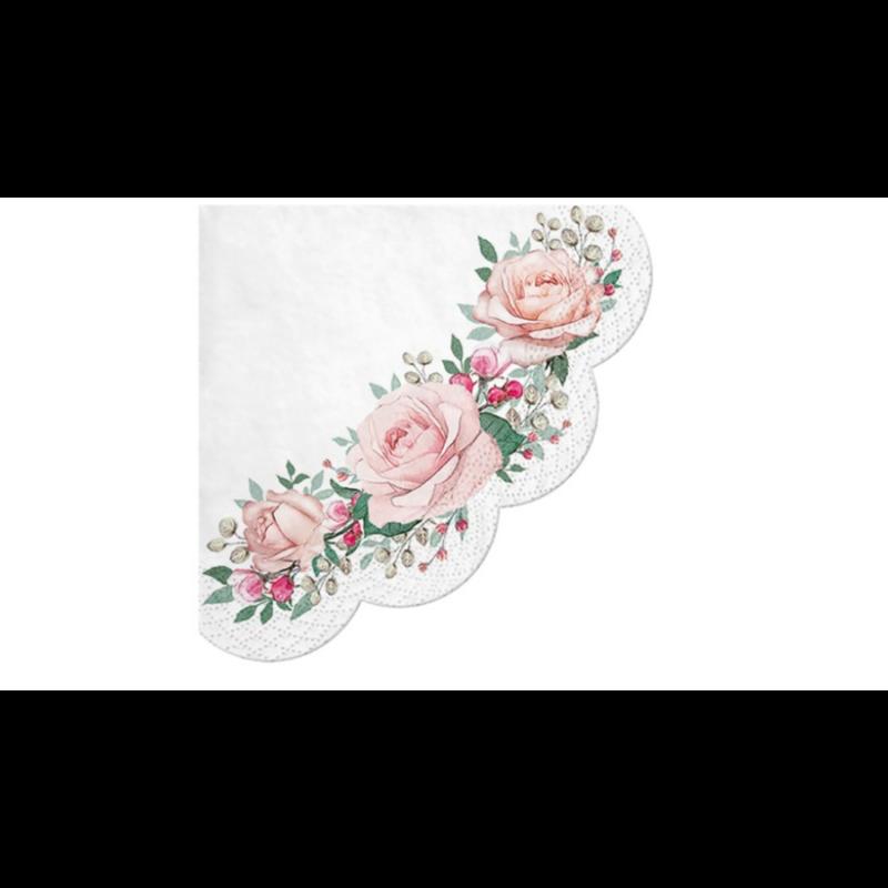 Háromszög formájú szalvéta rózsákkal, apró virágokkal