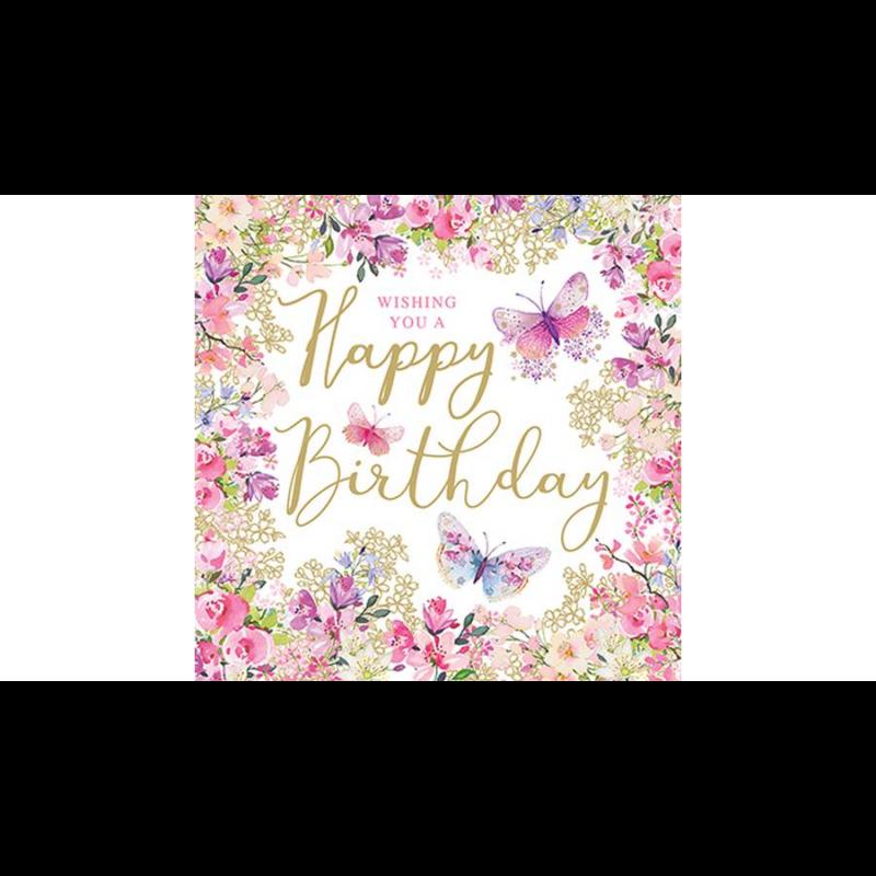 Születésnapi szalvéta nyári virágözönnel, közepén Happy Birthday felirattal