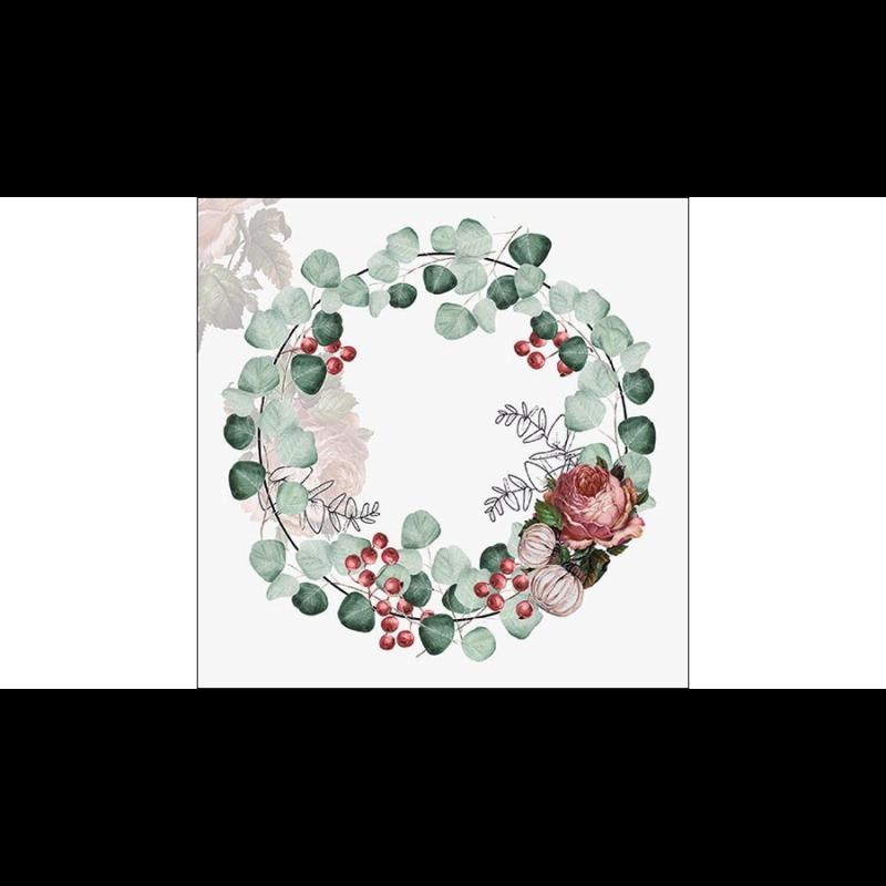 Zöld leveles virágkoszorú papírszalvétán, rózsával és csipkebogyóval dekorálva