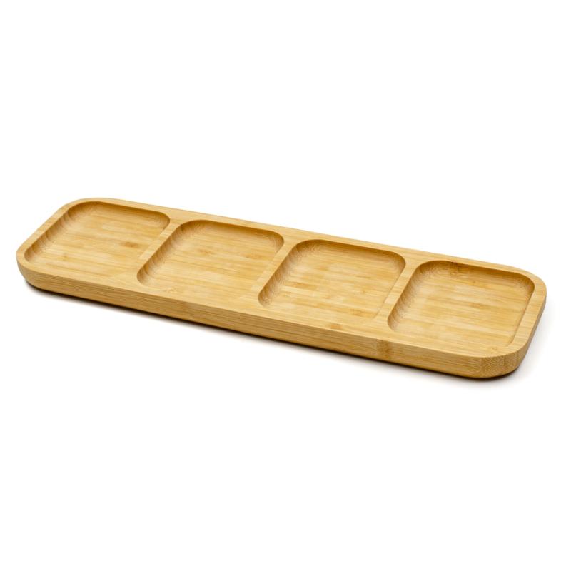 Bambusz kínáló tálka 4 rekesszel