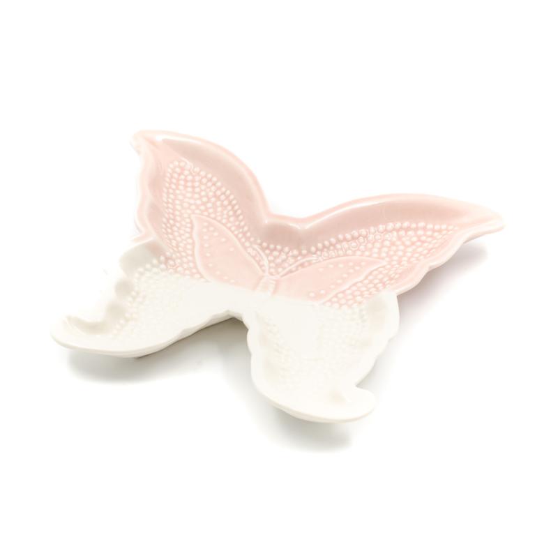 Rózsaszín-fehér porcelán pillangó formájú kínáló tálka