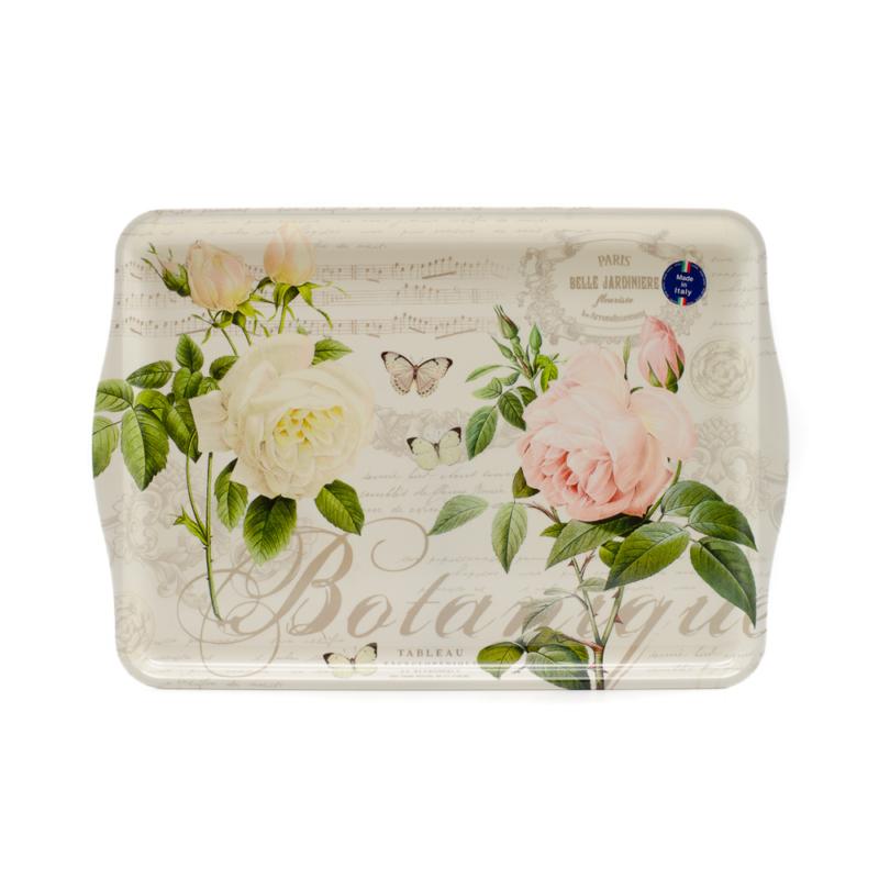 Nagy műanyag olasz tálca, rózsaszín-fehér rózsákkal, pillangókkal