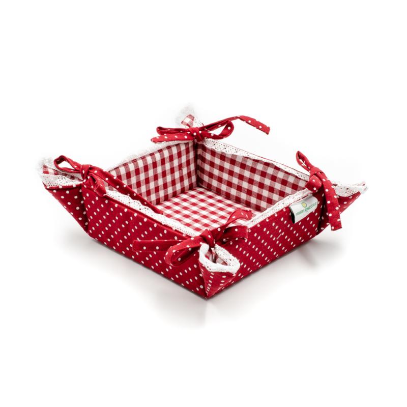 Pöttyös-kockás, mindkét oldalán használható szétnyitható kenyérkosár