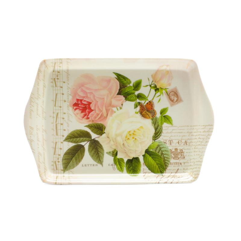 Kicsi műanyag kínáló tálca angol rózsákkal, pillangóval