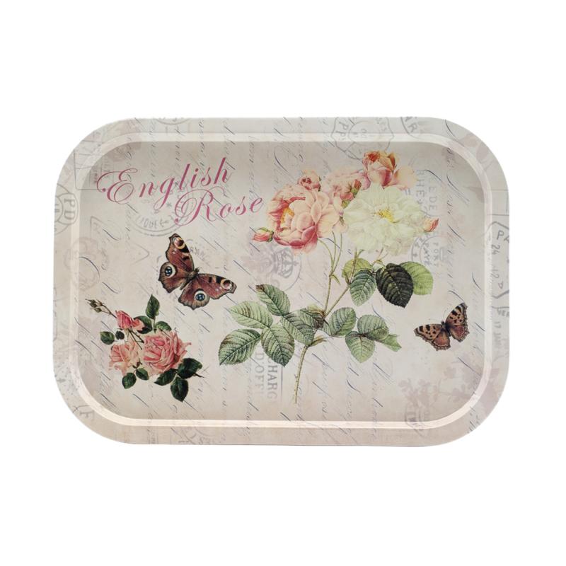 Fém nagyméretű tálca, bézs alapszínen angol rózsákkal, pillangókkal