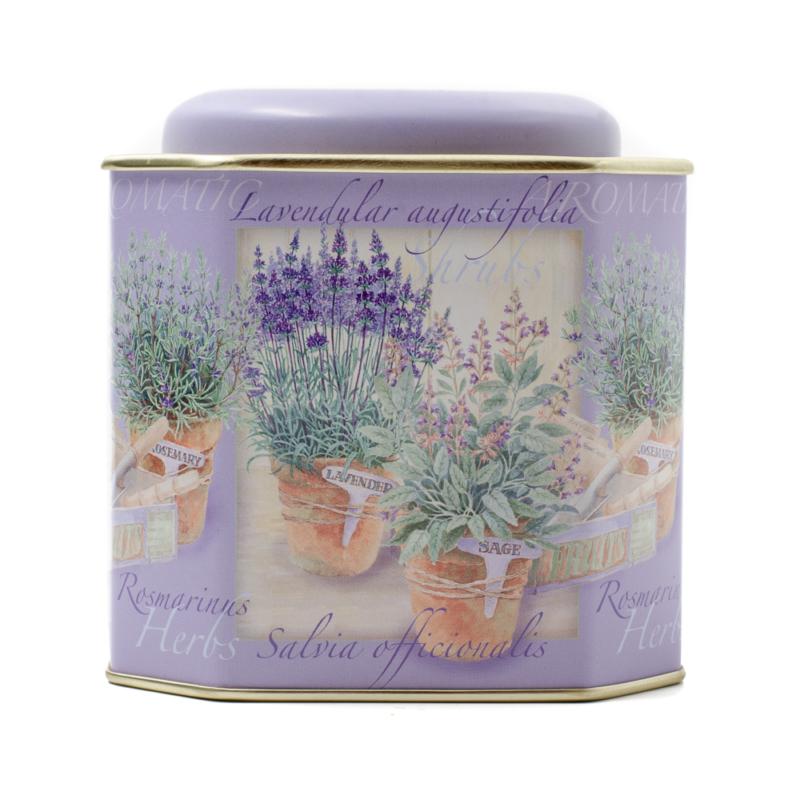 Konyhai fémdoboz szögletes tároló, lila alapon fűszernövényekkel, levendulával