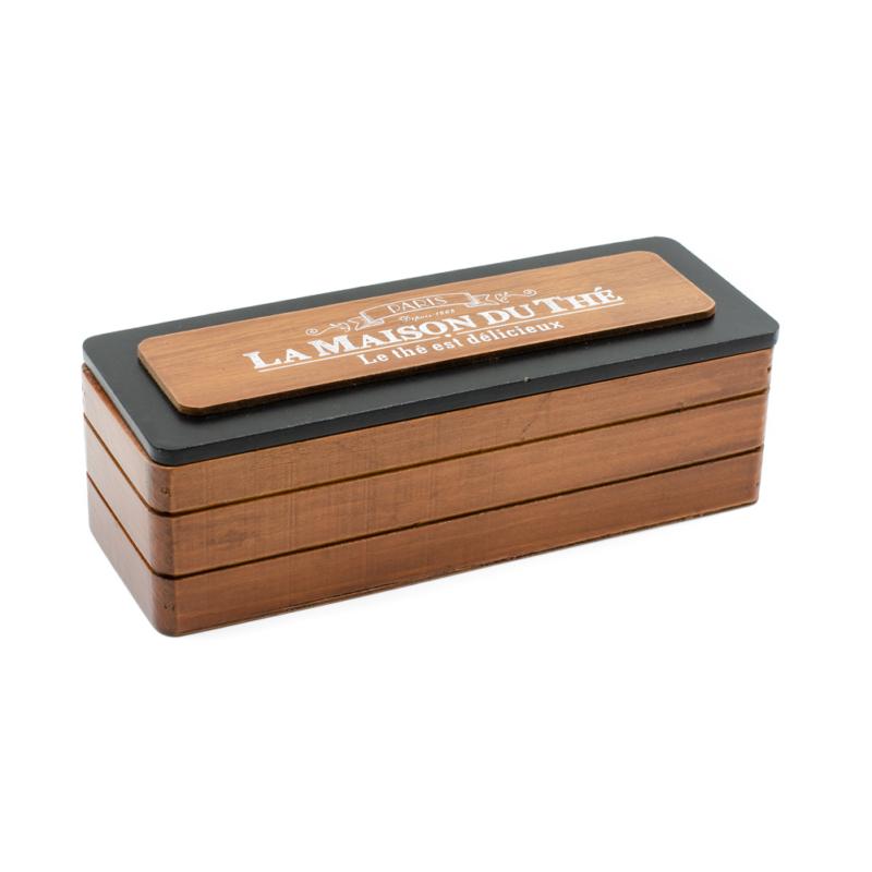 Barna színű fa teafilter tartó 3 belső rekesszel, francia felirattal