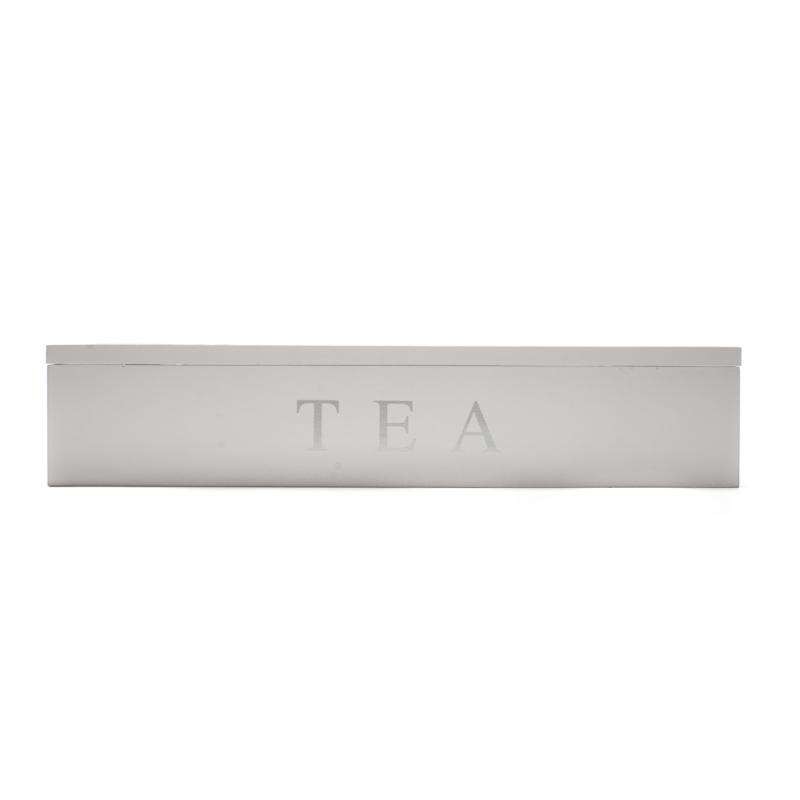 Hosszúkás keskeny fehér fa teafilter tartó, fedele üveglapos, felfelé nyitható