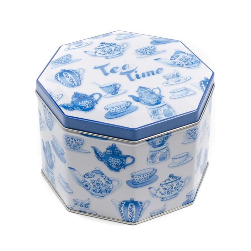 8 szögletű fám tárolódoboz, fehér alapon kék teáskannák és csészék