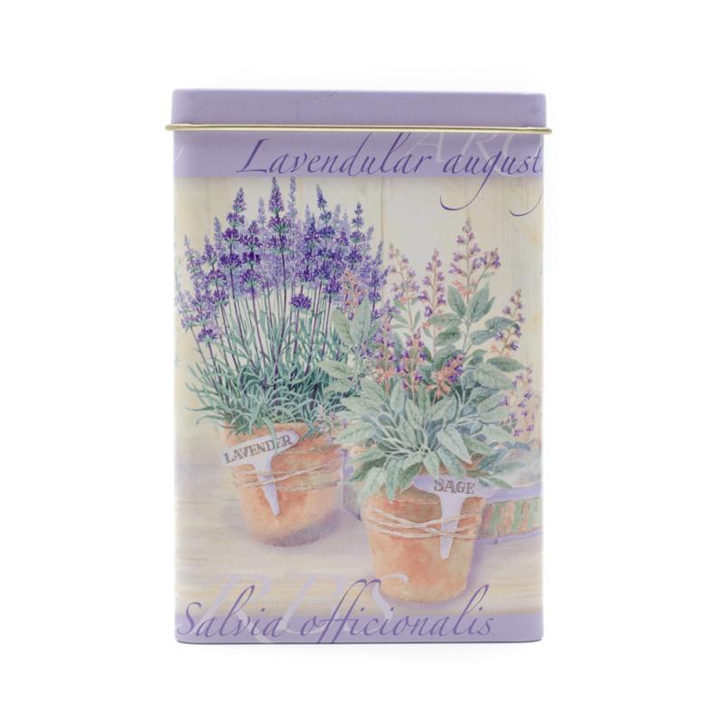 Konyhai kicsi négyszögletes fémdoboz, lila alapon fűszernövényekkel, levendulával