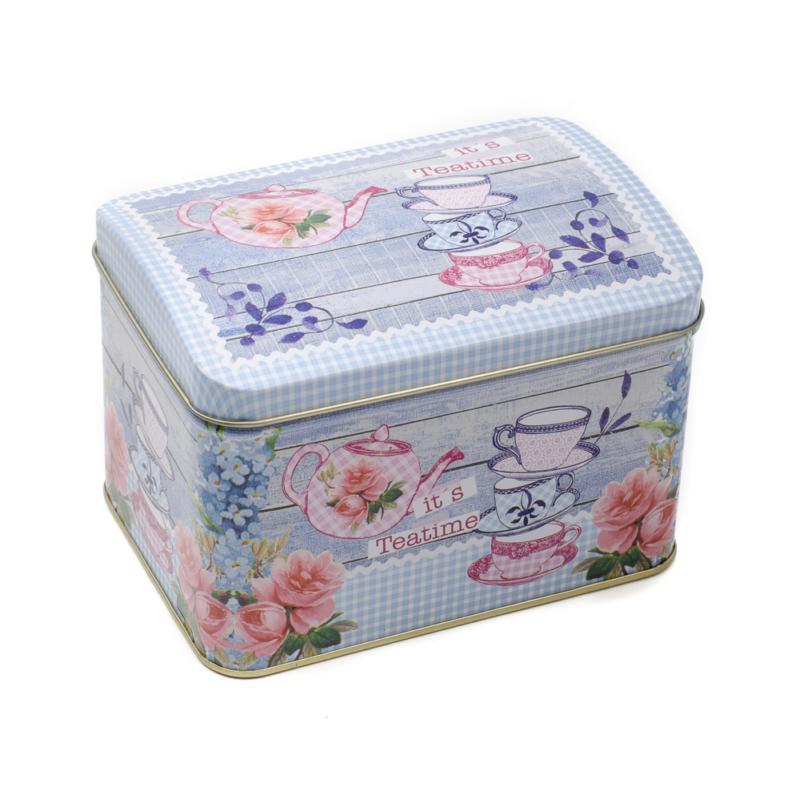 Fém tároló, égszínkék alapon teáscsészék, kannák, bazsarózsával, apró kék virágokkal