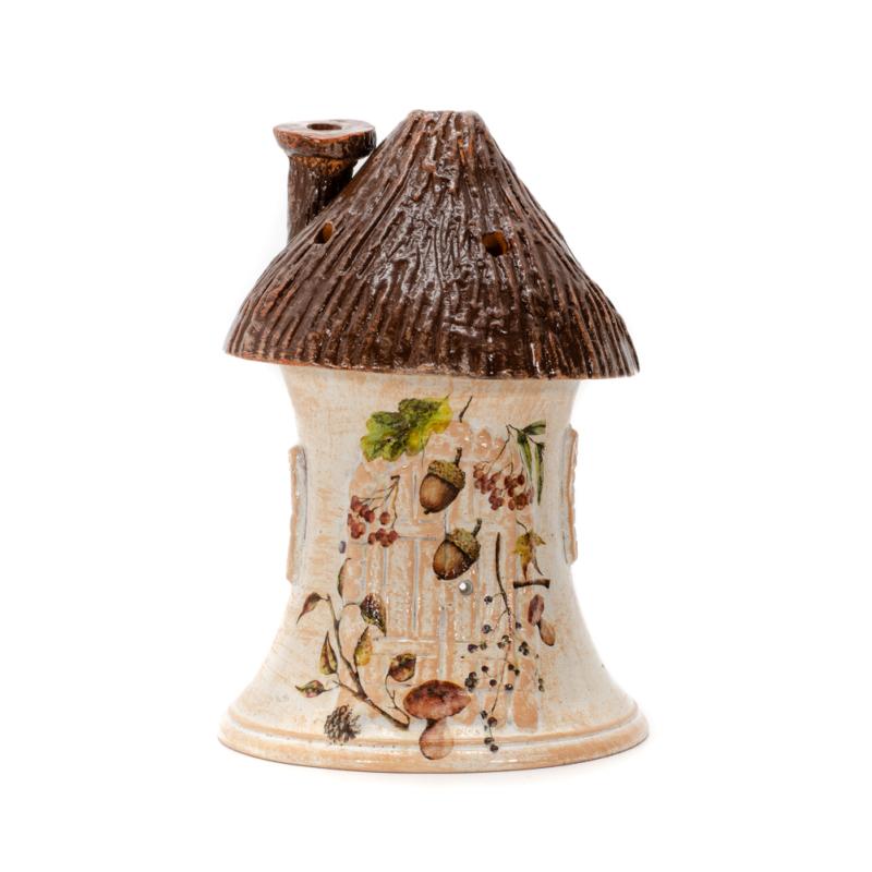 Kunyho alaku keramia mecsestarto makokkal, barna szinhatas
