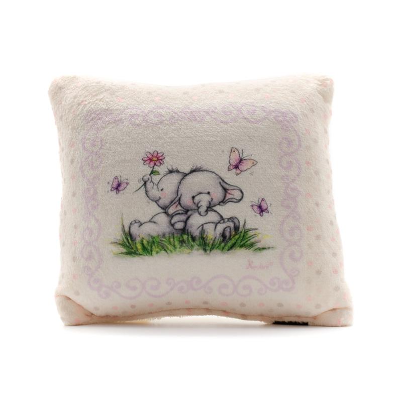 Kicsi lila párna elefántbébikkel, pöttyös keretben