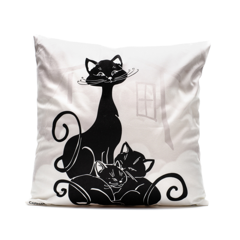 Bézs alapszínen fekete macskák, két oldalán különböző mintákkal: ülő macska és macskacsalád