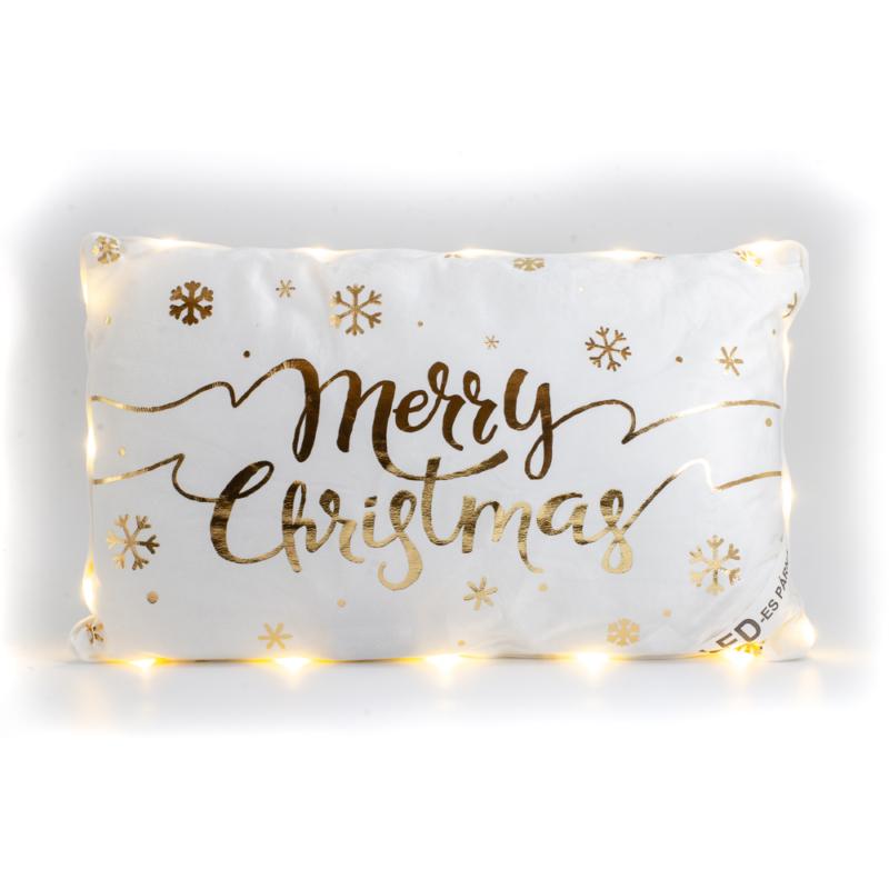 Arany Merry Christmas feliratu feher LEDes parna