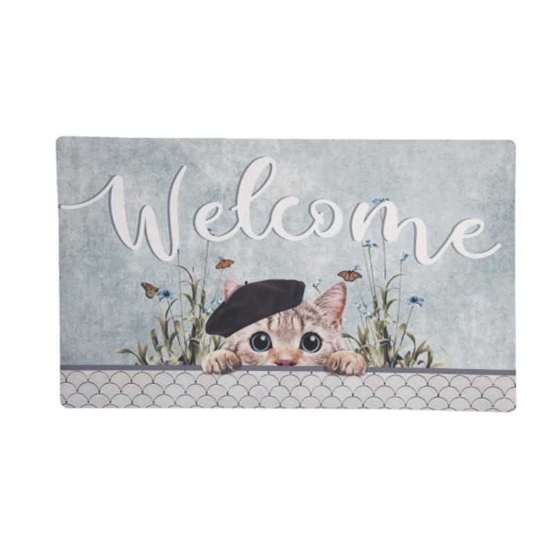 Welcome feliratú cicás belépő, vagy lábtörlő tavaszias háttérrel