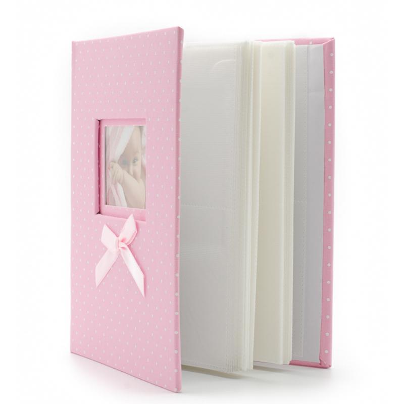 Rózsaszín-fehér pöttyös bébi fotóalbum