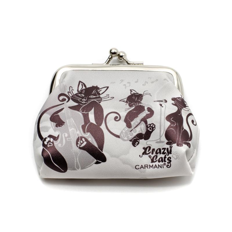 Fekete-fehér mini műbőr pénztárca, zenélő fekete cicákkal