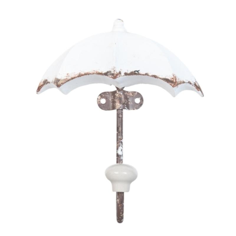 Kisméretű esernyő alakú fogas antikolt fehér fából, vas kampóval