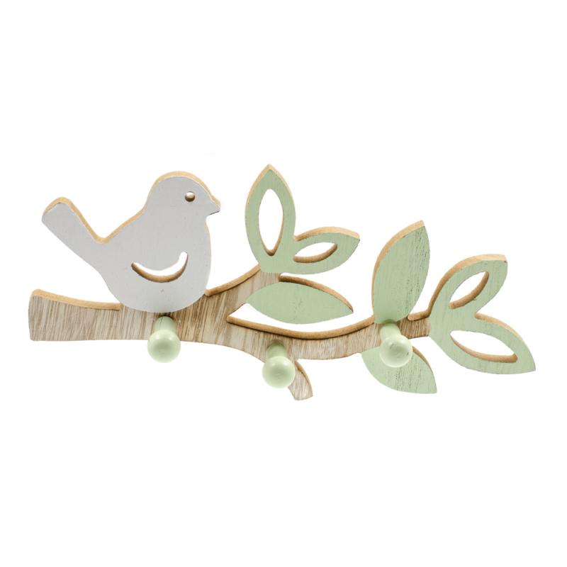 Fa madárkás fali akasztó fehér madárkával, zöld levelekkel