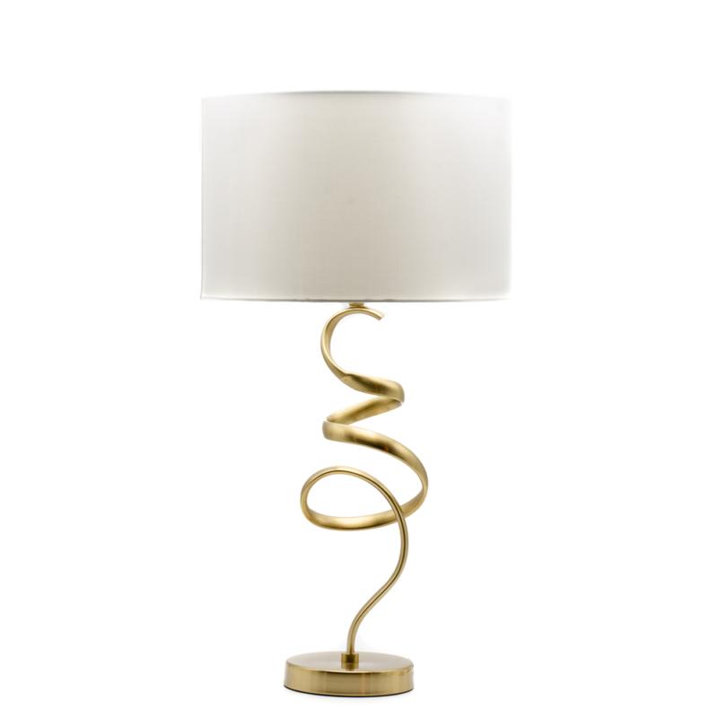 Tekeredő réz lámpatest, nagy szövet búrával asztali lámpa