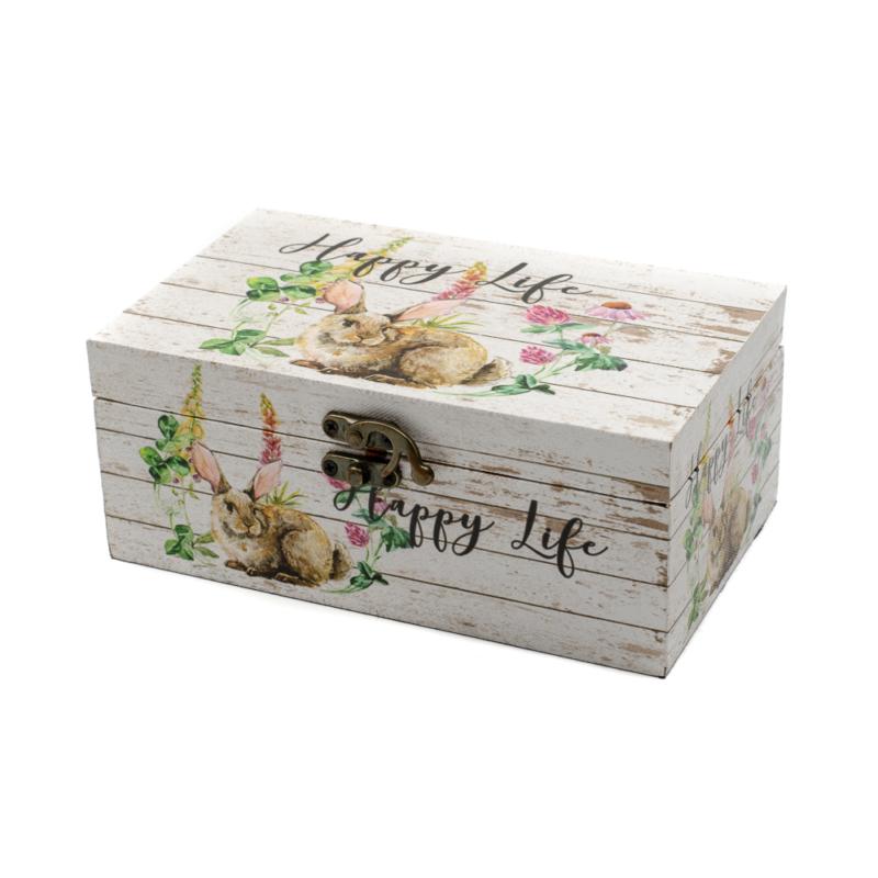 """Kicsi """"Happy Life"""" fa dísztároló tavaszi virágokkal és nagy rózsaszín fülű nyuszival"""