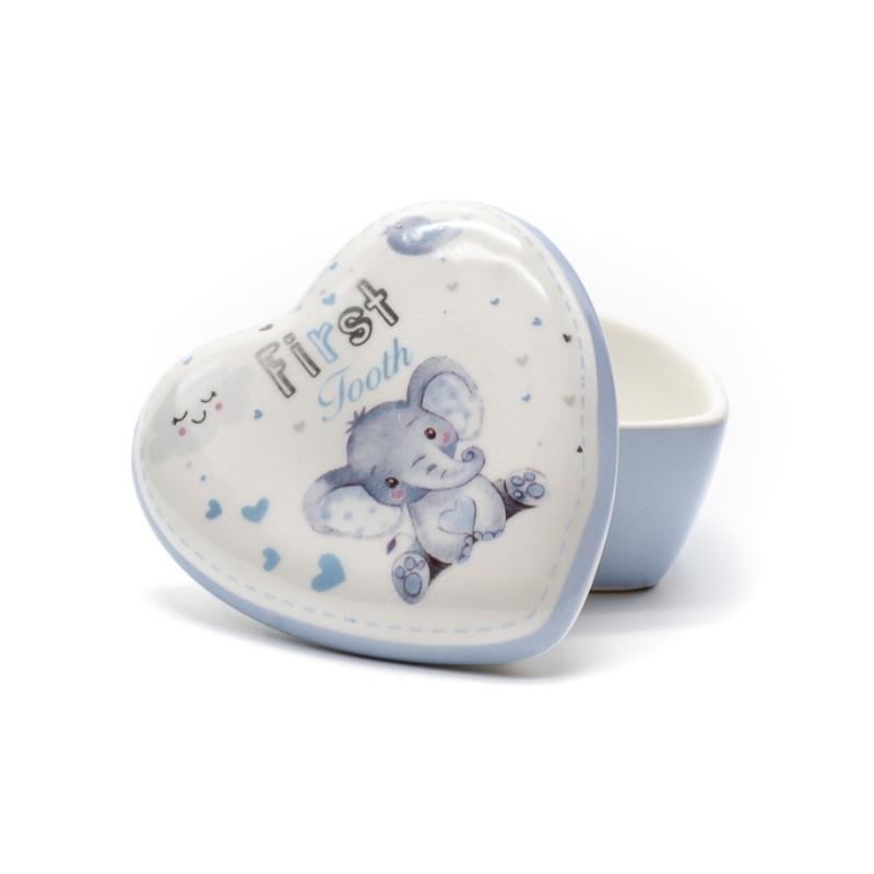 Szív lakú kerámia doboz az első kisfiú fogaknak