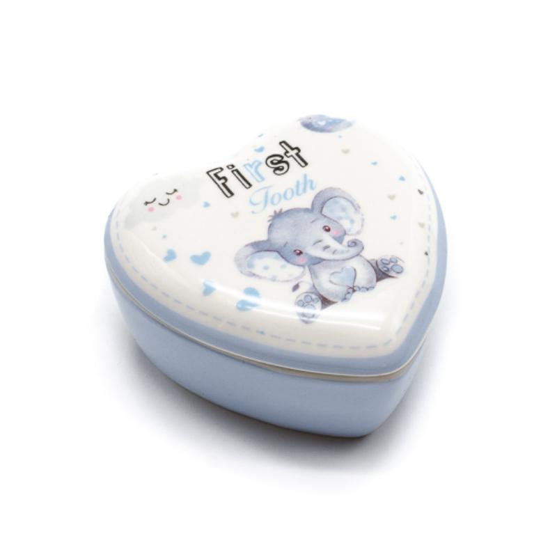 Kicsi porcelán szív alakú tároló az első fogaknak kék szíves elefánt bébivel